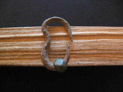 Bronze Age Ancient Celtic Bronze Earring With Octagonal Pearl 1000-800 B.c.