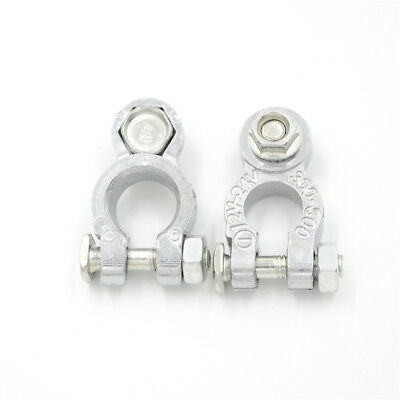 2x/Set Zinc Coats Positive Negative Battery Terminals Clamp Connectors For CarME