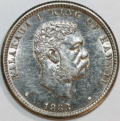1883 Kingdom of Hawaii Quarter Dollar Circulated .90% Silver Coin Trace Luster