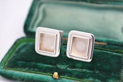 Vintage Sterling Silver Cufflinks With An Art Deco Onyx Design #g677