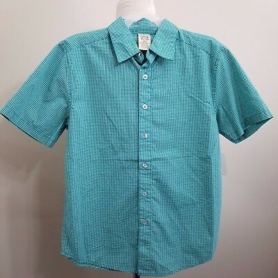 New BOYS Checkered Casual Shirts Woven Button Down Teal/Aqua Green Large OR XL