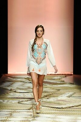 White Cover Up Colorful Embroidery Thin Blouse Beach Holiday Dress One Size 4562