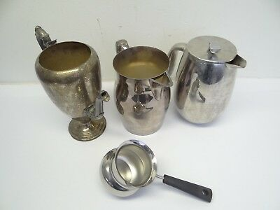 Mixed Lot Silverplate Borum Stainless C Jorgensen French Press Poole Pitchers