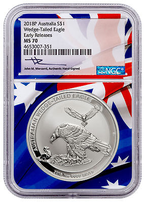 2018 Aust 1 oz Silver Wedge-Tailed Eagle $1 NGC MS 70 ER Flag Mercanti SKU52648