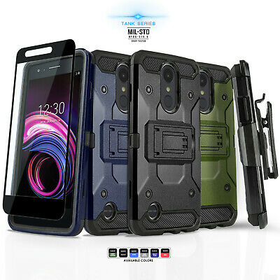 for LG REBEL 3 LTE / PHOENIX 3, [Tank Series] Phone Case Cover & Holster +Glass