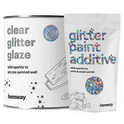 Hemway Clear Glitter Paint Glaze Silver Holographic Stars Moons Walls Wallpaper