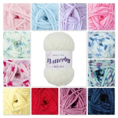 James Brett Flutterby Chunky 100g Baby Supersoft Knitting Wool Yarn*All Colours*