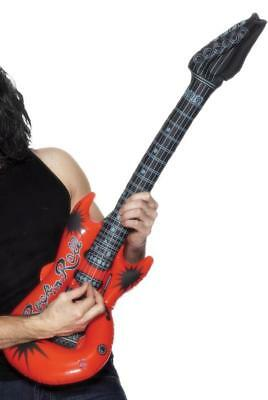 MENS LADIES INFLATABLE GUITAR ROCK N ROLL PARTY 80s FANCY DRESS ASSORTED COLOURS