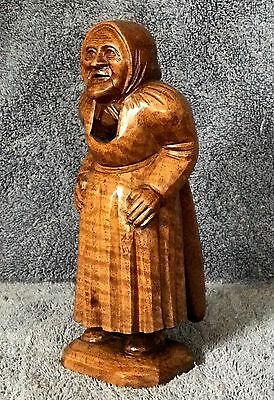 LADY WITH KERCHIEF SCARF Standing Wooden Old Nutcracker Hand Carved mid 20thC