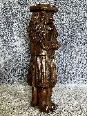 J. MARTIN- DEPOSE NUTCRACKER Standing Man Wooden Hand Carved Antique Early 20thC