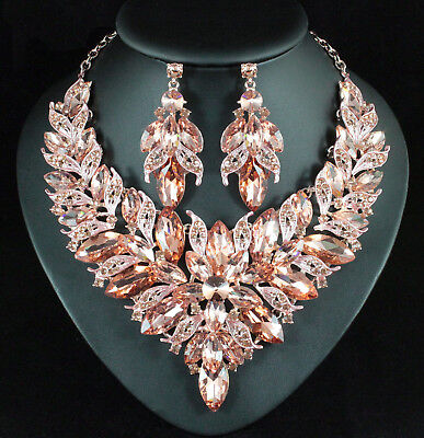 Luxury Champagne Austrian Rhinestone Necklace Earrings Set N957 Rose Gold Plated