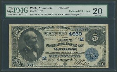 Fr533 #4669 $5 1882 1St Nb Wells, Minn Pmg 20 Vf Unique For This Bank Wlm5377