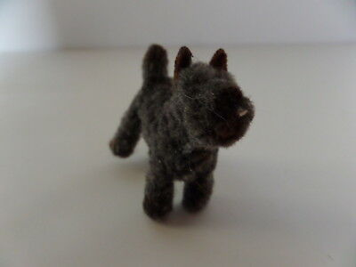 """VINTAGE fuzzy gray terrier dog figurine or toy? 1x2.25x2.25"""" Cute! Great"""