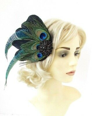 Black Green Blue Peacock Feather Fascinator Hair Clip Races Cocktail 1920s 5402