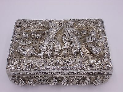 Attractive antique Burmese silver case / box  20th C.  310 g  RAR