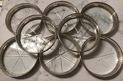 Lot Set Of 8 Vintage Sterling Silver Crystal Coasters