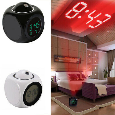 Alarm Clock Digital LCD Display Voice Talking LED Time Temperature Projector
