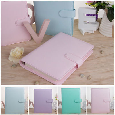 A5 Leather Loose-Leaf-Ring-Binder-Notebook Macaron Colour Agenda Planner Diary Z