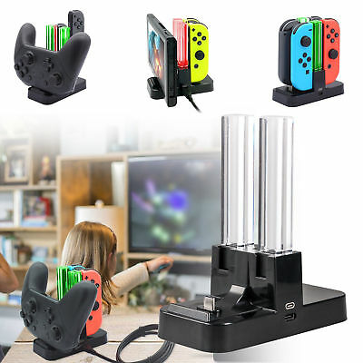 Nintendo Switch Joy-Con & Pro Controller Charging LED Stand 4 in 1 Charger Dock