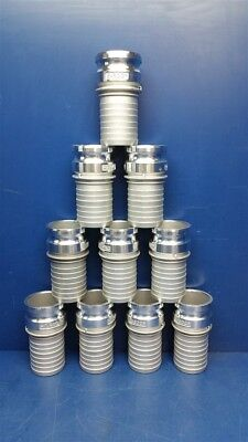"""Lot of 10 - 3"""" Type E E-300s Aluminum Cam and Groove Male Adapter x Hose Shank"""