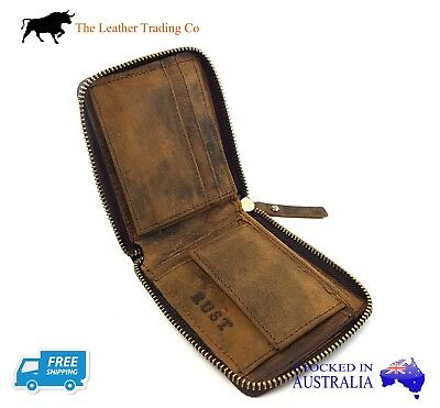 Men's Buffalo Leather Wallet - Triple Fold Zip Around with Coin compartment