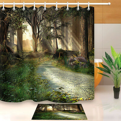Fairy Tale Forest Scenery Shower Curtain Liner Waterpoof Fabric Bathroom Mat 72""