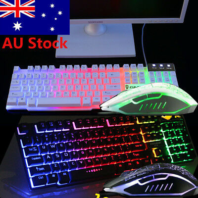 Rainbow LED Backlight Usb Ergonomic Gaming Keyboard and Mouse Set for PC Laptop