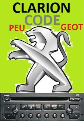 Unlock Pin Code provided PEUGEOT CLARION Radio Stereo