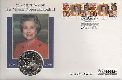 1996 70th BIRTHDAY HM QUEEN ELIZABETH II BAILIWICK OF GUERNSEY £5 COIN COVER