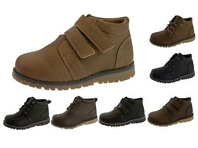 Boys Faux Leather Ankle Boots Warm Winter Casual School Shoes Kids Size