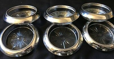 Vintage Sterling Silver Coasters Frank M Whiting Set of 6 **Classy**