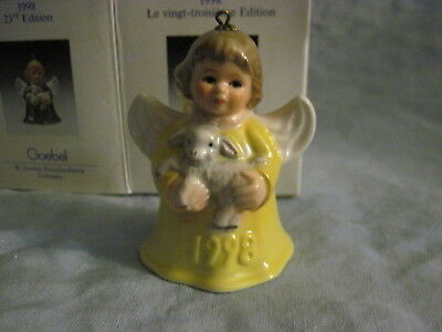 1998 Goebel ANGEL BELL ORNAMENT Yellow with Lamb in Box FREE SHIPPING
