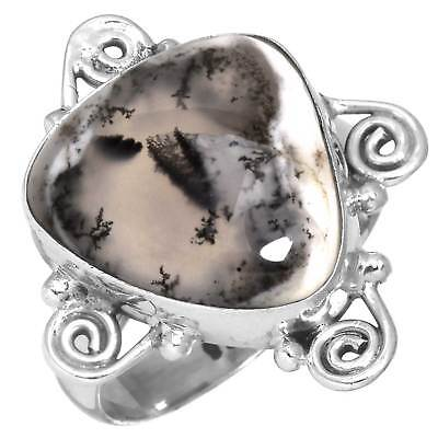 Solid 925 Sterling Silver Handmade Ring Natural Dendritic Opal Size 7.5 vR93307