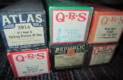 Lot Of 6 Vintage Player Piano Roll, Qrs, Rebublic, Atlas, 5206,9542,7742,3914