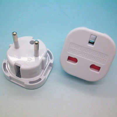 UK TO EUROPE EU - Travel Adapter Power Plug Convertor 3 Pin To 2 Pin ROUND ME