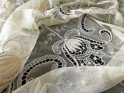 ROMANTIC Antique c1920 TAMBOUR NET LACE COVERLET Bedspread Ivory 82x108