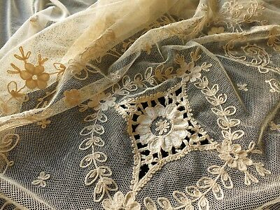 ~Romantic~ Antique c1920 Tambour Net Lace Coverlet Bedspread Ecru 76x98