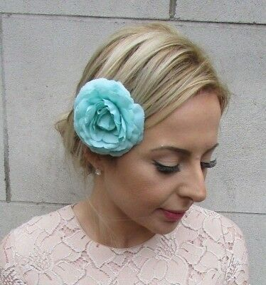 Turquoise Camellia Flower Hair Clip Rockabilly 1950s Fascinator Rose Floral 5407