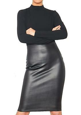 Ladies Polo High Neck Faux Leather Panel Bodycon Dress PU Skirt Long Sleeve Midi