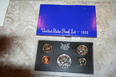 1968 US Coin Proof Set 5 Coin Set 40% Silver Kennedy Half BirthYear Free Ship 81