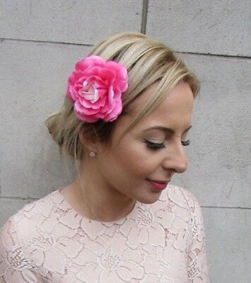 Ombre Pink Camellia Flower Hair Clip Fascinator Rose Floral Bridesmaid Boho 5412