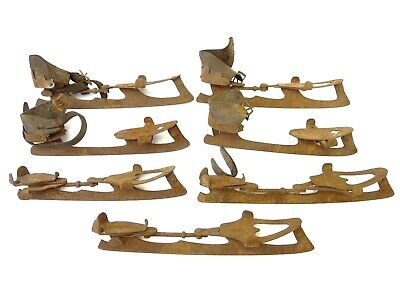 Mixed Antique Lot Old Metal Steel Leather Ice Skates Skating Decorative Parts