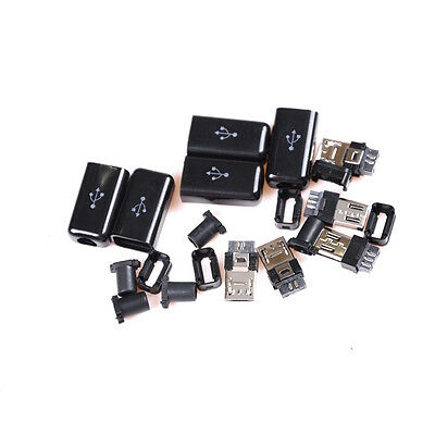 5X/set DIY Mini USB Plug Male Solder Mount Assembly Replace Connector Cable ME