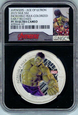 2015 Niue 1 oz Silver $2 Incredible Hulk Colorized Early Releases - NGC PF 70 UC