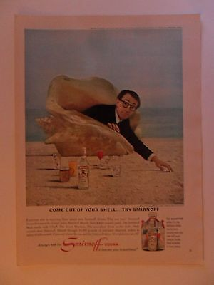 1966 Print Ad Smirnoff Vodka ~ Come Out of Your Conche Shell Woody Allen