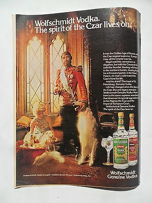 1980 Print Ad Wolfscmidt Russian Vodka ~ Wolfhound Borzoi Dog and Czar