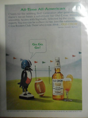 1965 Print Ad Old Crow Bourbon Whiskey ~ All-American Football Player