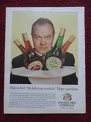 1959 Print Ad Canada Dry Ginger Ale ~ Bob Hope 20 Delicious Cordials