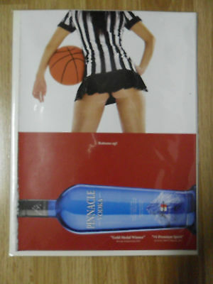 2011 Print Ad Pinnacle Vodka ~ Sexy Girl Basketball Referee w/ Short Short Skirt