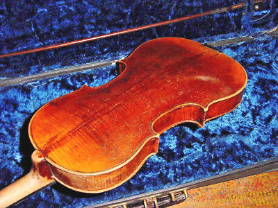 Antique German  Violin 4/4 Full Size And Bow Possibly Marked Reichel